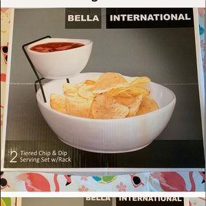 2 tier chip and salsa serving set